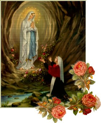 st. bernadette sees the Virgin Mary in a cave